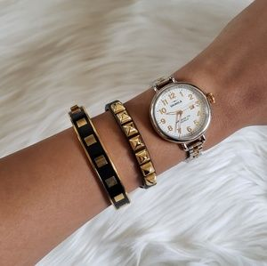Juicy Couture Black & Gold Studded Leather Bracele